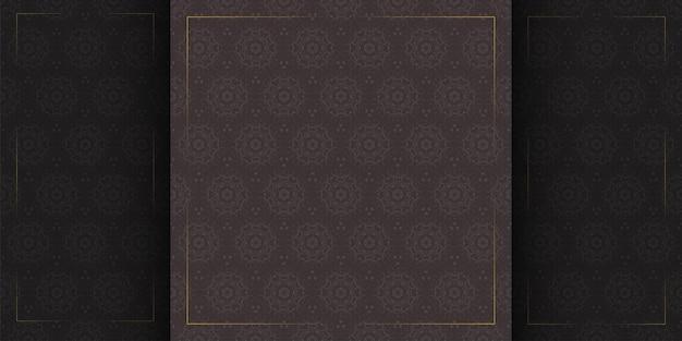Patrón transparente oscuro de lujo con plantilla de marcos de borde dorado