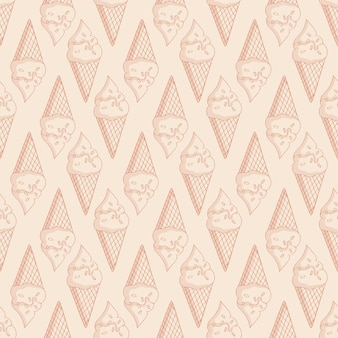 Patrón transparente pálido con helado en conos de galleta. fondo beige claro monocromo.