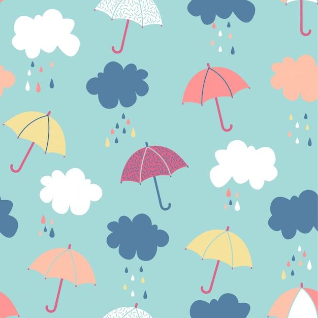 Patrón transparente de paraguas y nube