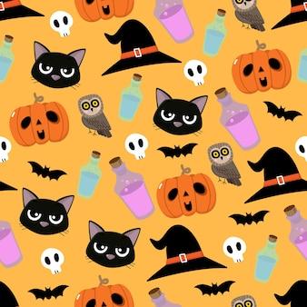 Patrón transparente de personaje de dibujos animados lindo de halloween.