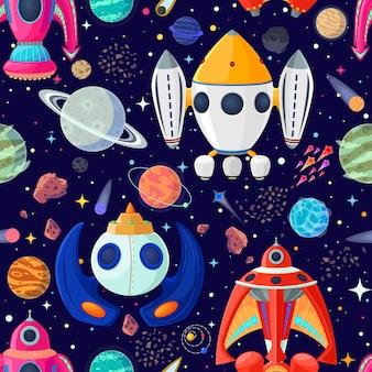 Patrón transparente de planetas y naves espaciales en espacio abierto.