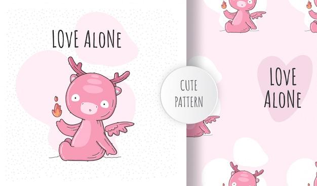 Patrón transparente plano lindo bebé dino rosa