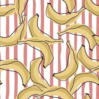 Patrón transparente de plátano beige en estilo doodle