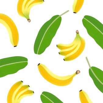 Patrón transparente de plátano realista