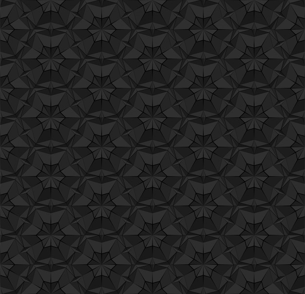 Patrón transparente poligonal negro con triángulos textura geométrica oscura y repetitiva con efecto de superficie extruida. ilustración para papel tapiz de fondo interior textil papel de envolver impresión.