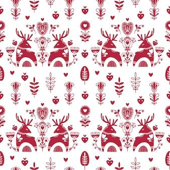 Patrón transparente popular abstracto con corazones y ciervos