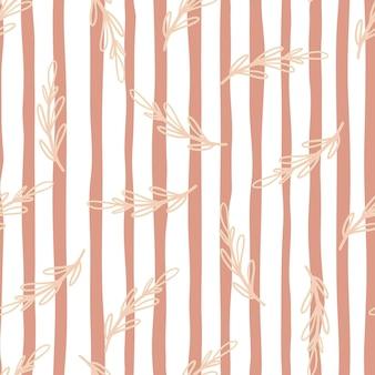 Patrón transparente con ramas de color rosa. rayas blancas y rosas