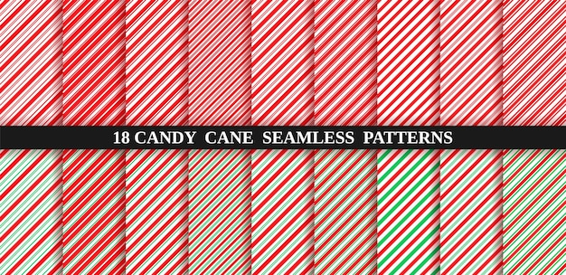 Patrón transparente de rayas de bastón de caramelo. papel de regalo rojo y verde.