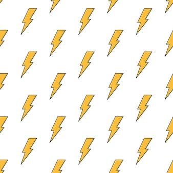 Patrón transparente de rayo sobre un fondo blanco. ilustración de vector de tema thunderbolt
