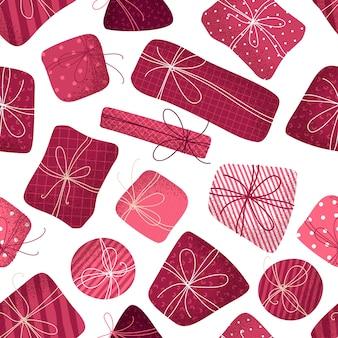 Patrón transparente de regalos rosa. textura punteada. fondo ilimitado de navidad o cumpleaños.