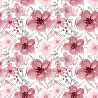 Patrón transparente rojo floral acuarela