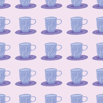 Patrón transparente simple con siluetas de taza de té de hierbas. adorno azul sobre fondo rosa claro. impresión estilizada. ideal para papel tapiz, textil, papel de regalo, estampado de tela. ilustración.
