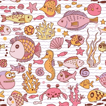 Patrón transparente submarino de dibujos animados con cangrejo, peces, caballitos de mar, corales y otros elementos marinos.