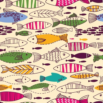 Patrón transparente submarino con peces.