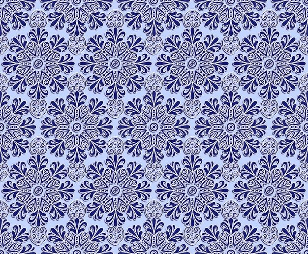 Patrón transparente de talla floral azul