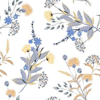 Patrón transparente con temática floral