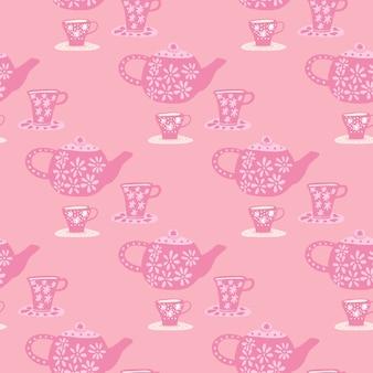 Patrón transparente tradicional con elementos de la ceremonia del té de doodle. impresión de café de paleta rosa.