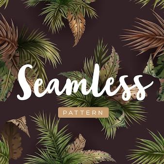 Patrón transparente tropical brillante con plantas de la selva. fondo exótico con hojas de palmera. ilustración