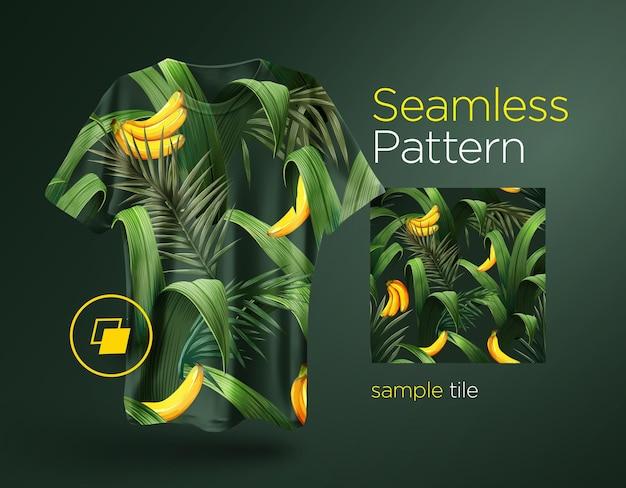 Patrón transparente tropical brillante con plantas de la selva.
