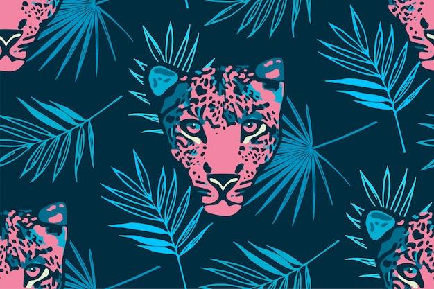 Patrón transparente tropical con hojas de palmera y leopardo