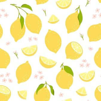 Patrón transparente tropical con limones amarillos