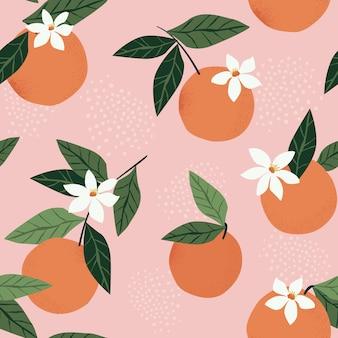 Patrón transparente tropical con naranjas