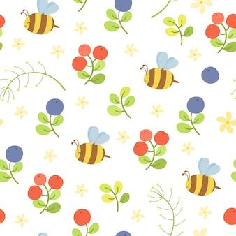 Patrón transparente de vector con abejas y bayas