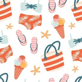 Patrón transparente de vector con accesorios de playa de verano vintage: trajes de baño, chanclas, helados, bolsa de playa. ilustración vectorial