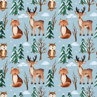 Patrón transparente de vector acuarela de navidad con animales del bosque