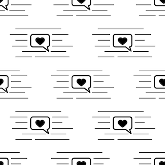 Patrón transparente de vector de arte de línea negra con bocadillo de diálogo de redes sociales, corazón dentro y líneas de chat aisladas sobre fondo blanco. cuadro de diálogo con icono de corazón. textura sin fin para cubiertas web, decoración.
