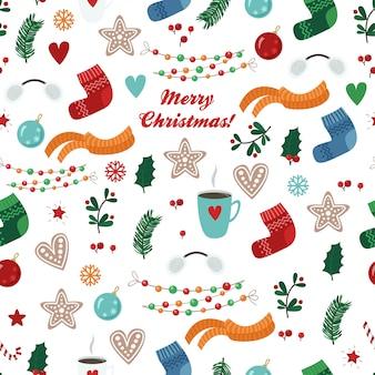 Patrón transparente de vector con artículos de navidad: calcetín, bufanda, taza, galleta, bola, guirnalda, rama, hoja