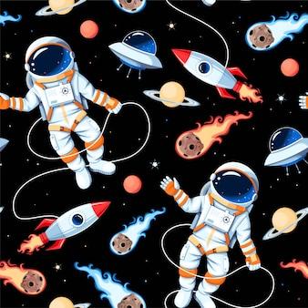 Patrón transparente de vector con astronautas, cohetes y asteroides