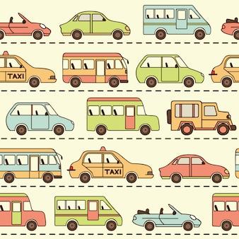 Patrón transparente de vector con autos y autobuses