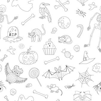 Patrón transparente de vector blanco y negro con elementos de halloween. fondo de fiesta tradicional de samhain. papel digital aterrador con jack-o-lantern, araña, fantasma, calavera, murciélagos, esqueleto.