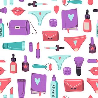 Patrón transparente de vector con bolsas de cosméticos niñas diferentes artículos y cosas concepto de feminismo