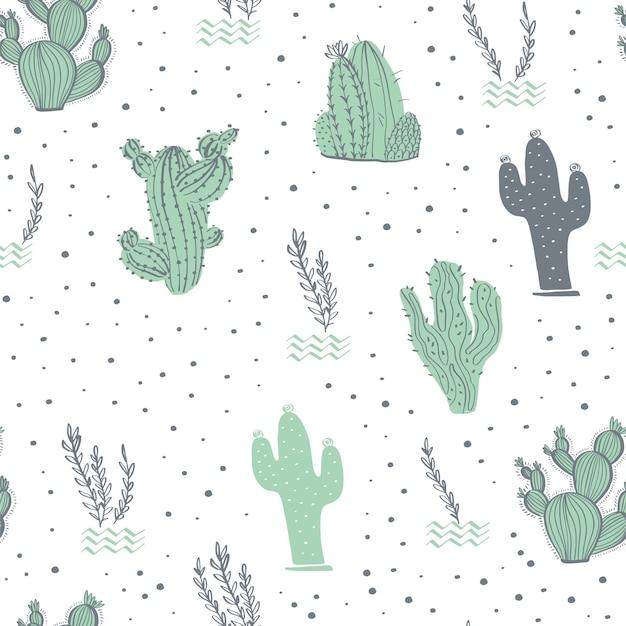 Patrón transparente de vector con cactus, ramas, elementos florales y abstractos aislados sobre fondo blanco. estilo de boceto dibujado a mano. bueno para embalaje, etiquetas, tarjetas, decoración de bodas y guarderías, etc.