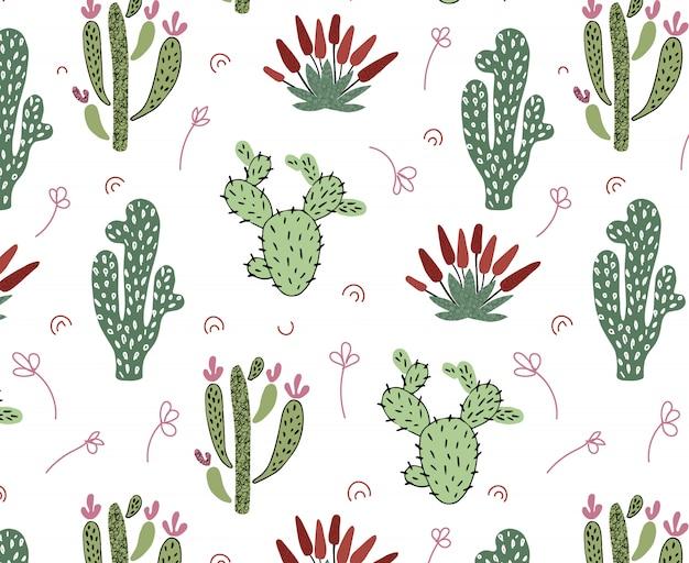 Patrón transparente de vector con cactus tropicales africanos