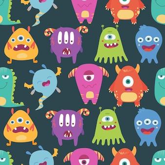 Patrón transparente de vector colorido y brillante con monstruos divertidos, monstruos sobre un fondo blanco.