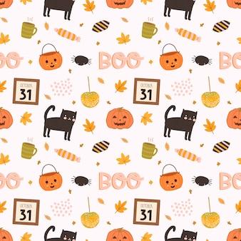 Patrón transparente de vector colorido para halloween en estilo dibujado a mano.