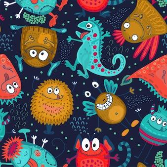 Patrón transparente de vector colorido con monstruos divertidos lindo fondo sin fin