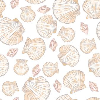 Patrón transparente de vector con conchas y estrellas de mar
