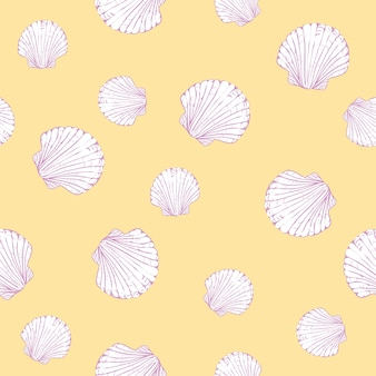 Patrón transparente de vector con conchas de vieira dibujadas a mano