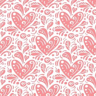 Patrón transparente de vector con corazones. fondo gráfico decorativo romántico día de san valentín, boda.
