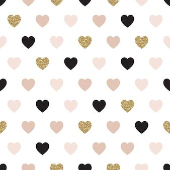Patrón transparente de vector con corazones de rosa, oro y negro.