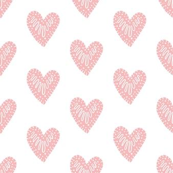 Patrón transparente de vector con corazones
