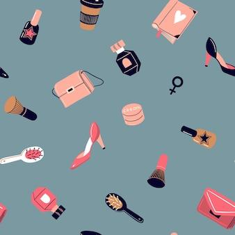 Patrón transparente de vector con cosméticos niñas diferentes artículos y cosas concepto de feminismo