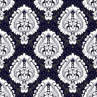 Patrón transparente de vector damasco. adorno de damasco antiguo de lujo clásico, textura perfecta victoriana real para fondos de pantalla, textiles, envoltura. exquisita plantilla barroca floral.