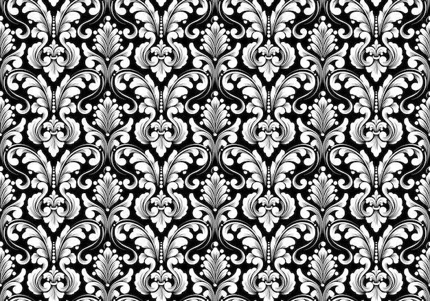Patrón transparente de vector damasco.
