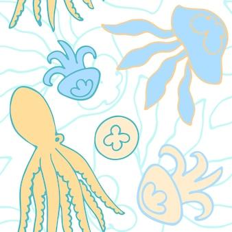 Patrón transparente de vector dibujado a mano con pulpos y medusas sobre fondo blanco Vector Premium