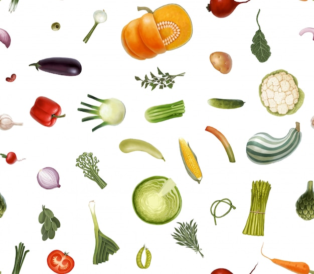 Patrón transparente de vector dibujado a mano de verduras